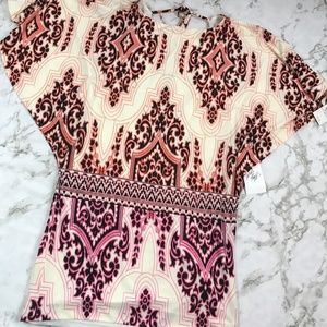 Muse Cream Black Pink Paisley Shift Dress